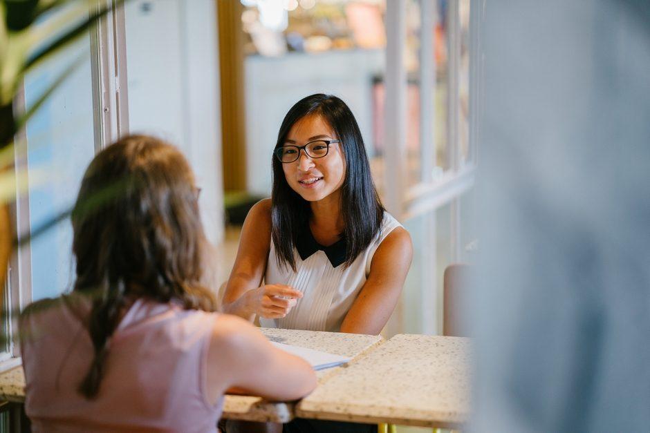 Two women having a job interview