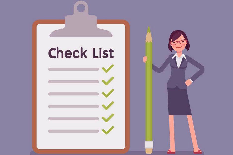 Cartoon woman next to check list clipboard