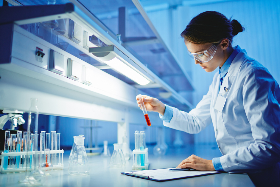 Woman working in laboratory in biotechnology